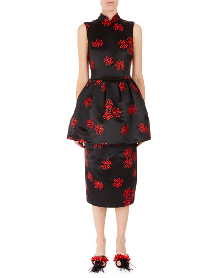 Embroidered Satin Peplum Dress