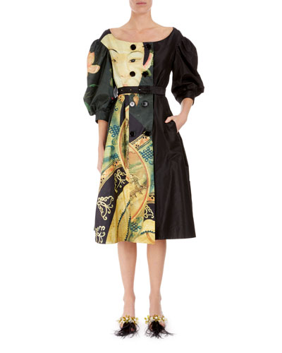 Double-Breasted Silk Taffeta Coat