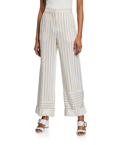 Striped Wide-Leg Trousers