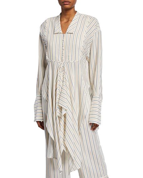 JW Anderson Striped Handkerchief Button-Front Shirt