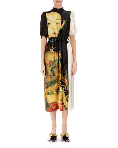 Portrait-Print Silk Midi Dress with Pockets