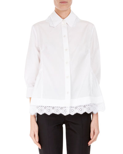 3/4-Sleeve Lace-Trim Boyfriend Shirt