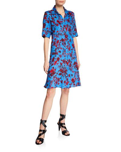 Short-Sleeve Nightshade Floral Shirtdress