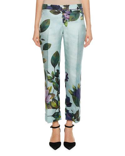 Ceo Magnolia Print Twill Pants