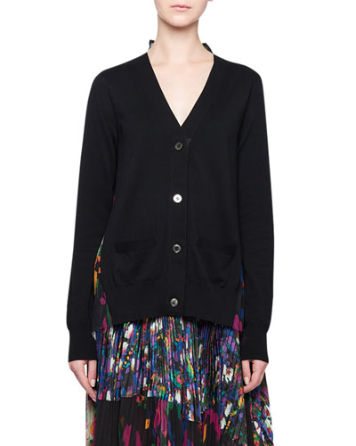 Floral Pleated-Back Cardigan