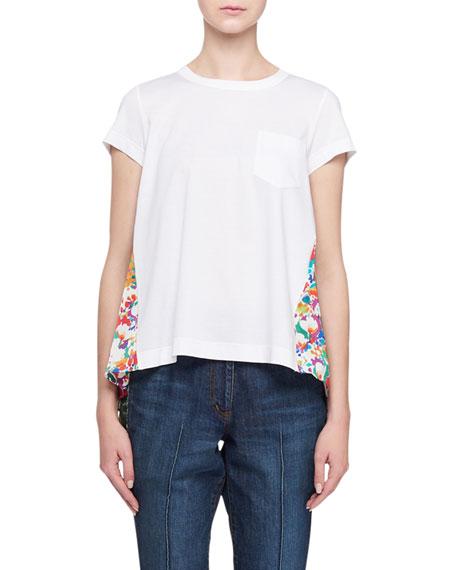 SACAI Floral-Back Short-Sleeve Tee
