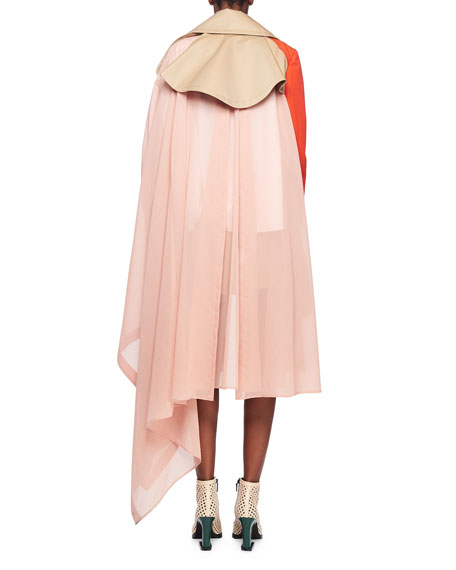 Chiffon-Side Colorblocked Belted Trench Coat
