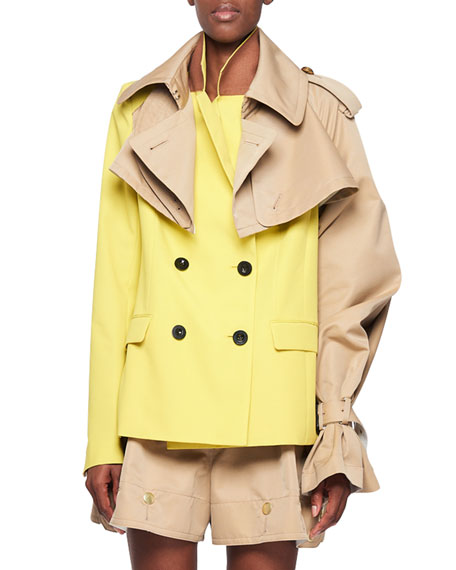 Colorblocked Double-Breasted Trench-Style Blazer