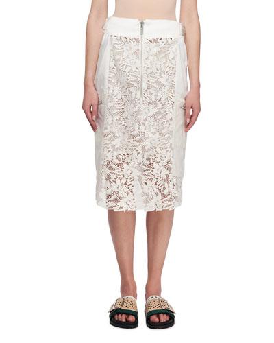 Zip-Detail Lace Midi Skirt