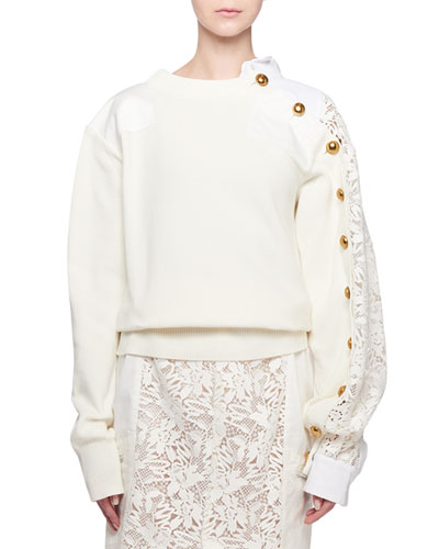 Lace-Sleeve Button Detail Crewneck Sweater