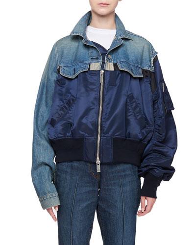 Denim-Nylon Bomber Jacket