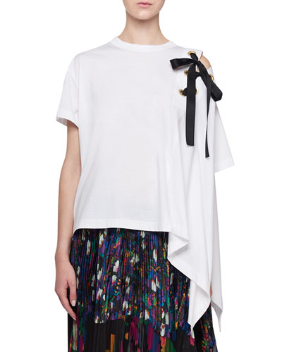 Laced-Up Asymmetric Shoulder Draped Tee