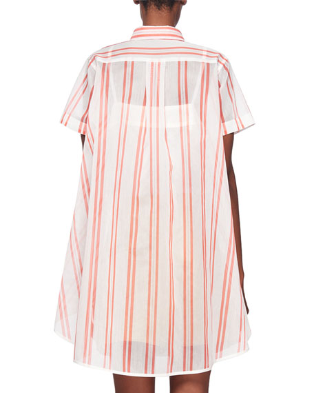 Striped Button-Front Short-Sleeve Top