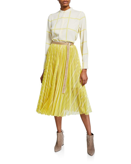 Striped Pleated Midi Wrap Skirt