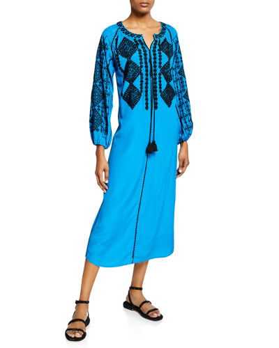 Lana Long-Sleeve Diamond Embroidered Silk Caftan Dress