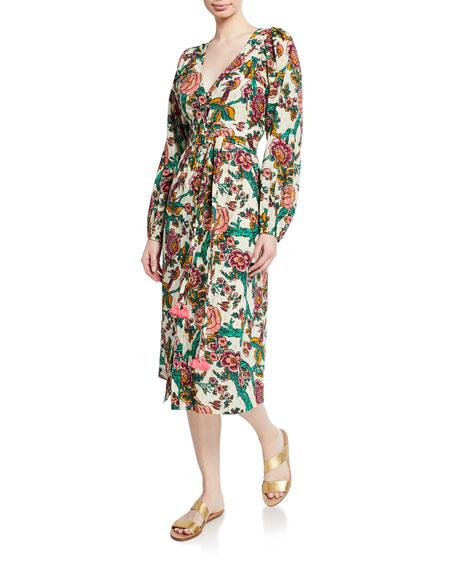 Figue Malina Long-Sleeve Floral Metallic Dress