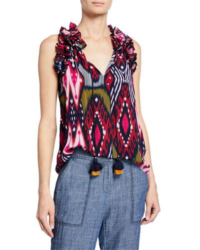 Fabiana Sleeveless Ruffled Ikat Blouse