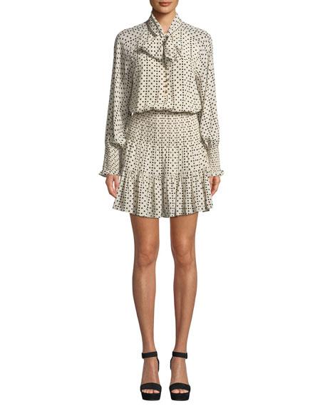 Figue Carlita Long-Sleeve Polka Dot Silk Dress