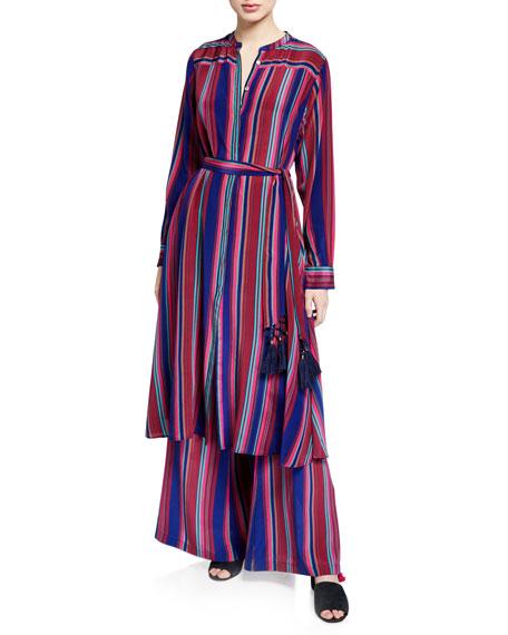 Panema Striped Silk Pompom Pants
