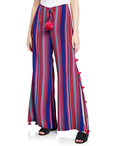 Panema Striped Silk Pompom Pants