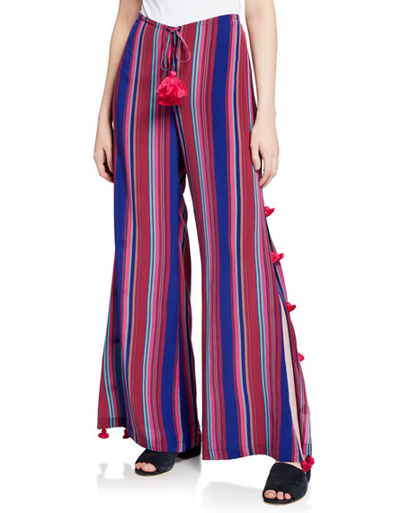 Figue Panema Striped Silk Pompom Pants