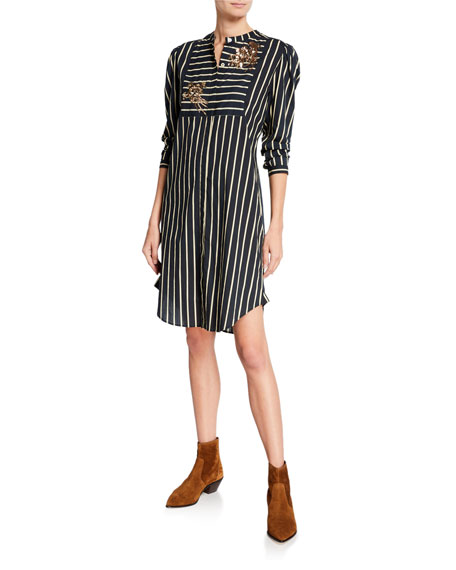 Figue Perine Long-Sleeve Embroidered Striped Shirtdress