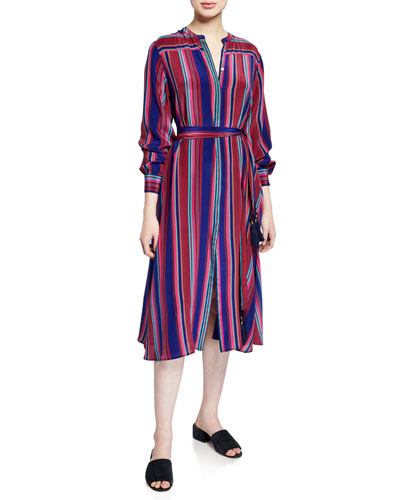 Elena Long-Sleeve Multi-Striped Dress
