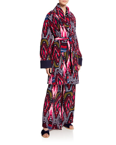 Karina Reversible Ikat Striped Coat