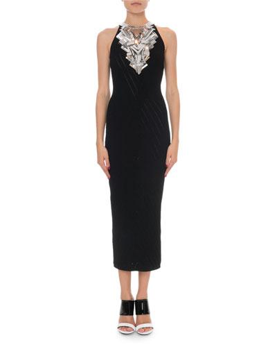 Sleeveless Broken Mirror-Embellished Cocktail Dress
