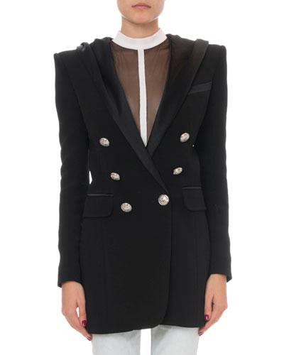 Hooded Satin Long Jacket