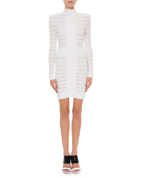 Balmain Sheer-Striped Long-Sleeve Mock-Neck Cocktail Dress