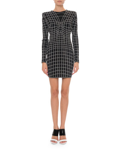 Long-Sleeve Studded Jersey Cocktail Dress