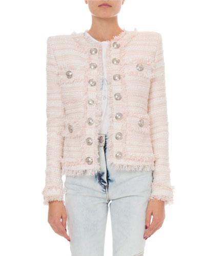 Tweed Crewneck Open-Front Jacket