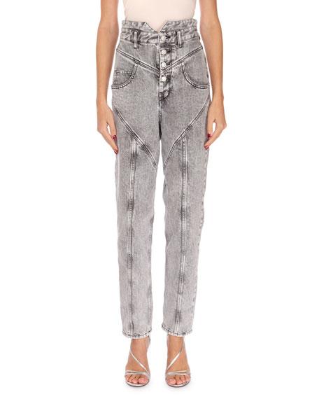 ca5f60600a8 Isabel Marant Rei High-Waist Straight-Leg Acid Wash Jeans