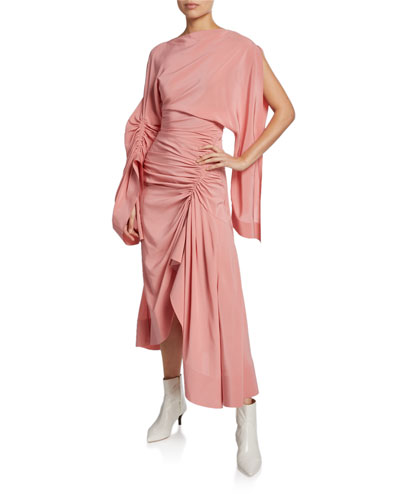 Crepe de Chine Cocktail Dress w/ Asymmetric Drape