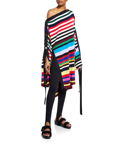 Monse Off-the-Shoulder Rainbow Striped Sweater