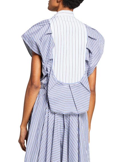 Pleated Striped Tuxedo Top