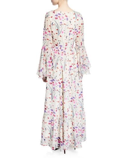 Florencia Floral-Print Silk Georgette Dress