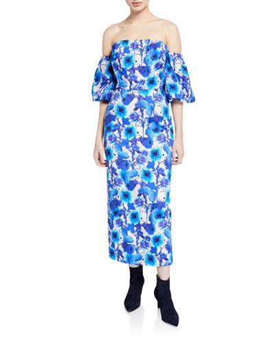Adelita Off-The-Shoulder Floral-Poplin Dress