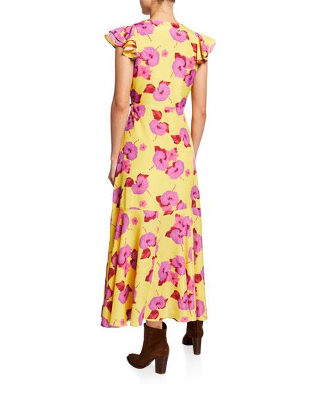 Salma Floral Crepe Ruffle Midi Dress