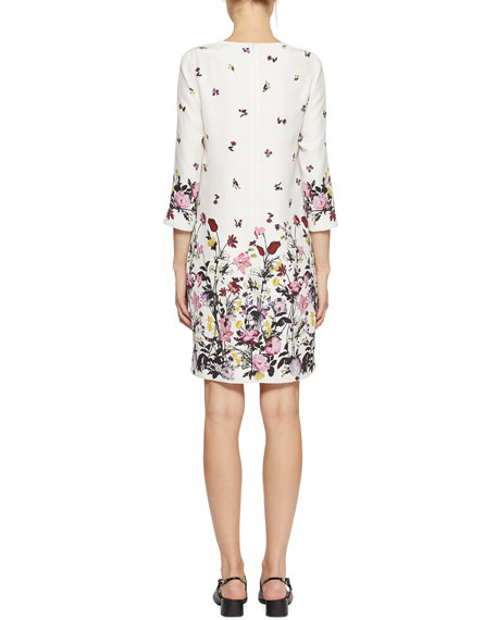 Emma 3/4-Sleeve Floral-Print Shift Dress