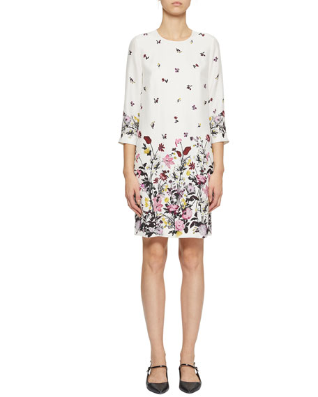 Image 1 of 1: Emma 3/4-Sleeve Floral-Print Shift Dress