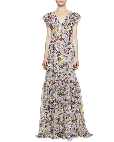 Erdem Franceline Floral Sleeveless Gown