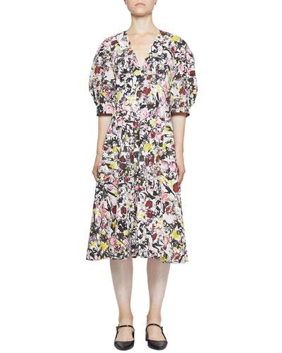 Cressida Cotton Poplin Floral V-Neck Dress