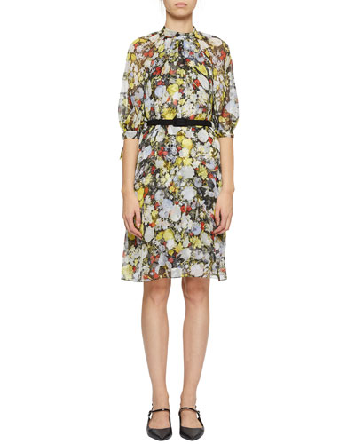Melodie Floral-Print Silk Dress