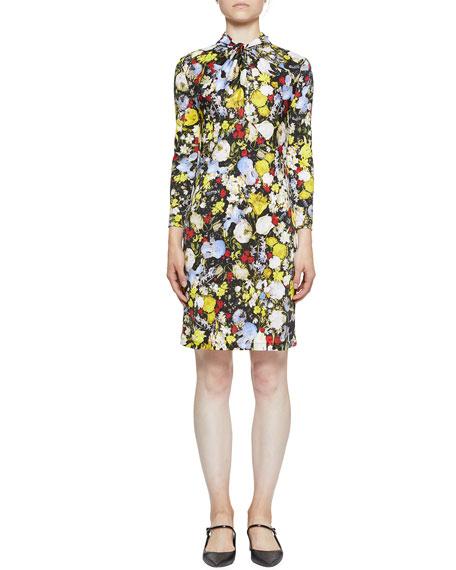 Erdem Nicolette Twist-Neck Jersey Mini Dress