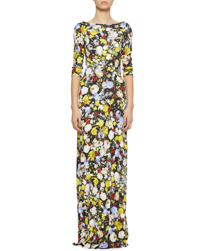 Valentina Floral-Print 3/4-Sleeve Gown