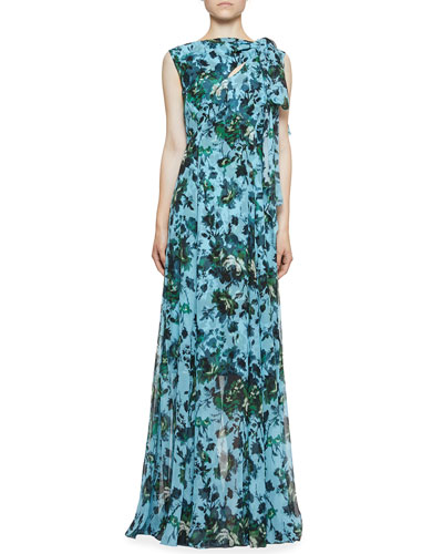Kassidy Tie-Shoulder Silk Gown