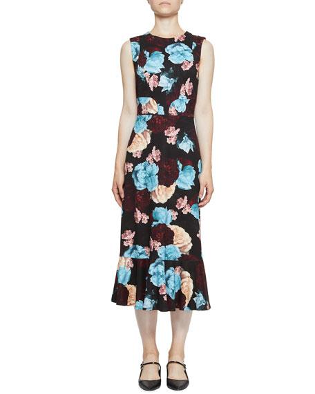 Grazia Sleeveless Floral Flounce Midi Dress