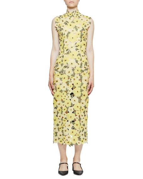 Erdem Floral-Embroidered Organza Mock-Neck Midi Dress